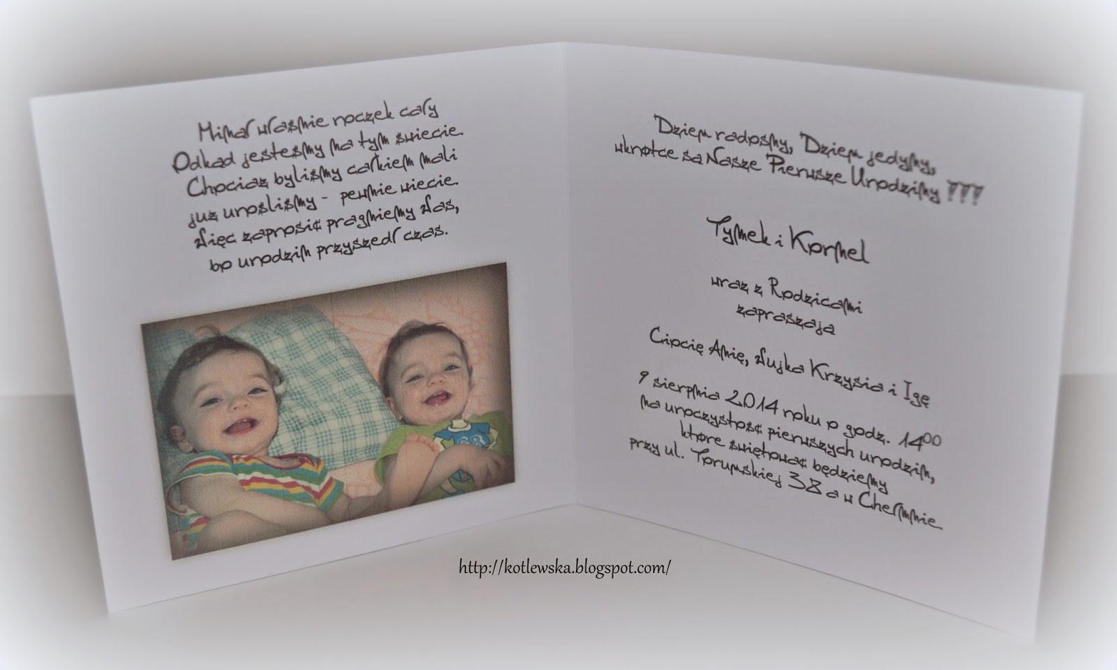 Tworzę Z Pasją Zaproszenia Na Roczek Dla Synków