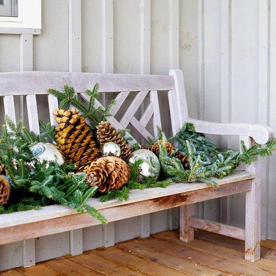 porch decoration, Christmas, natural elements, silver balls