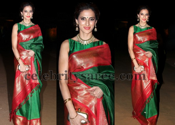 Shilpa Reddy Green Traditional Sari