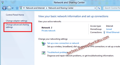 Enable File and Printer Sharing Windows 8-3