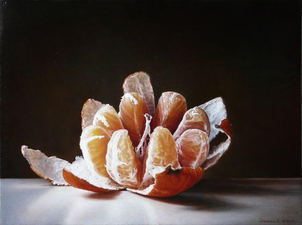 Emanuele Dascanio pinturas retratos e natureza morta hiper-realistas Laranja