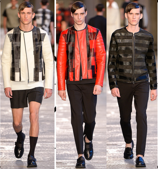 neil barrett spring 2014 leather pattern jackets