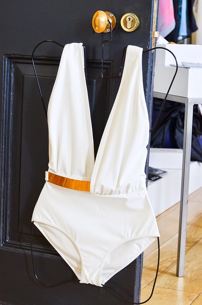 Moeva luxury swimwear white glamour swimsuit