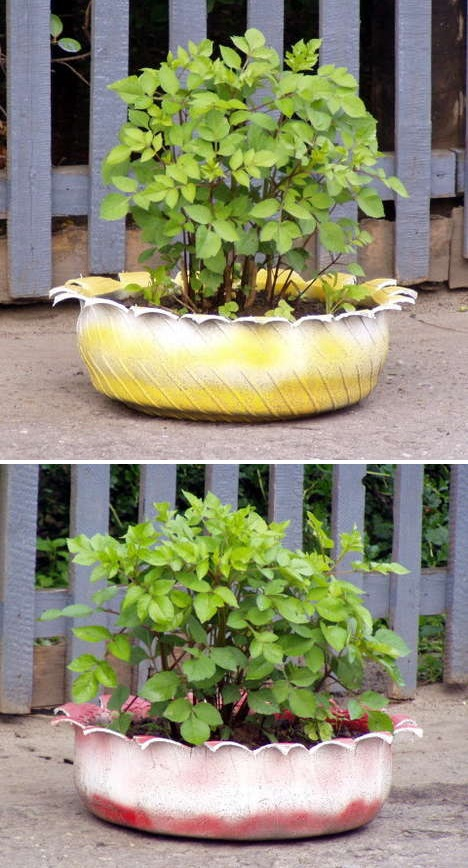 Recycled garden planters alternative green world for Alternative planters