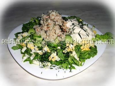 Салат из мяса криля и пекинской капусты