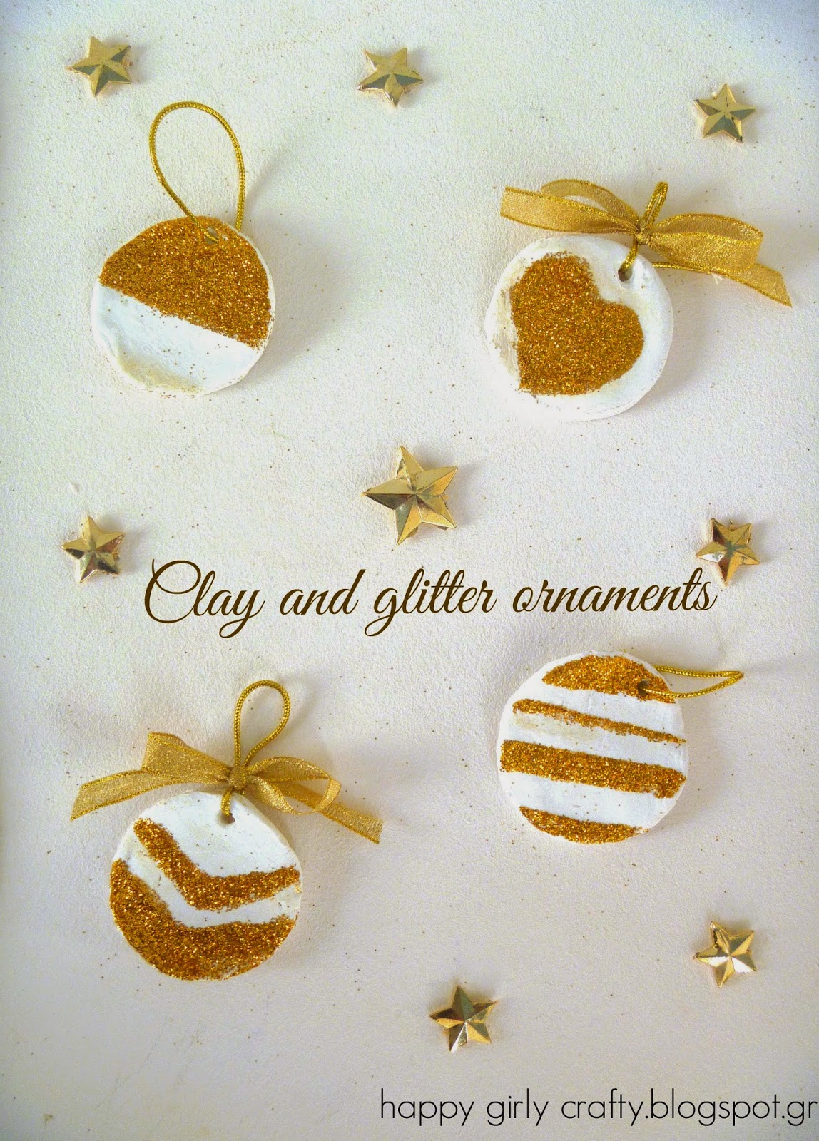 Clay and Glitter Ornaments by Happy Girly Crafty