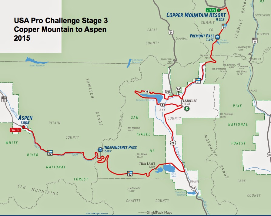 USA Pro Challenge Stage 3 route map 2015