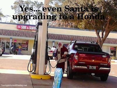 Santa Honda Truck Funny Pumping Gas