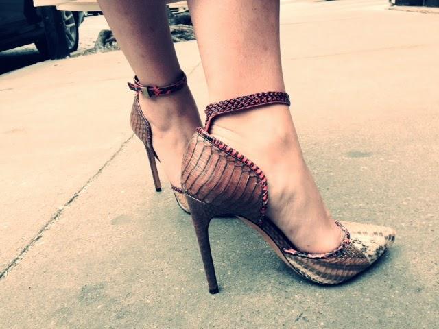 python heels, cool stilettos, Rachel Rachel Roy shoes, snakeskin pumps, designer snakeskin pumps, snakeskin shoes, Rachel Roy python, Rachel Roy python heels, Rachel Roy snakeskin pumps, ankle strap comfortable heels, animal print stilettos, snakeskin stilettos, comfortable heels, how to wear heels with long skirt