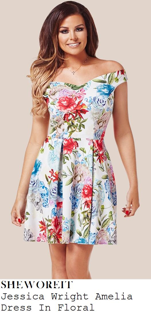 jessica-wright-white-multicoloured-floral-print-off-shoulder-skater-dress