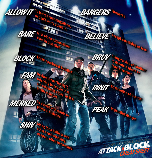 In Attack the Block, the white preteen hoodie named Pest tells Sam, the film's nurse heroine, that she's 'fit.' That's U.K. slang for 'Take my virginity now.'