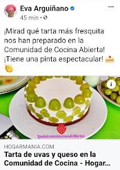 Eva Arquiñano publica en su página oficial mi Tarta de de uvas y queso