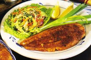 Picture of Golden Fish Cajun Style with green onions, lime, green salad on a white plate