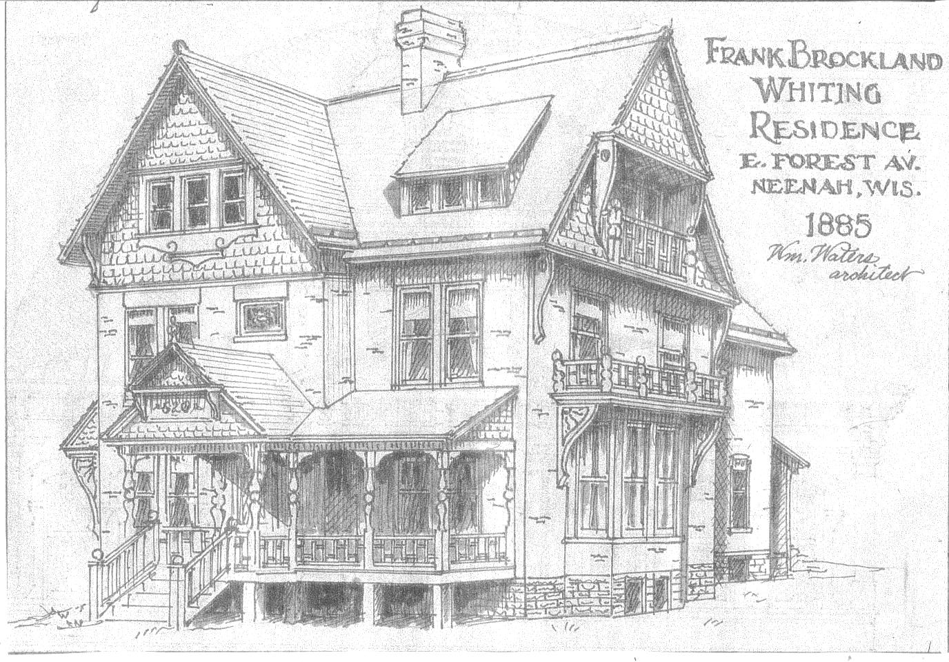 william waters oshkosh architect neenah residences part three in 1885 mr waters designed a large brick queen anne style home for a builder contractor named david barns in 1910 frank b whiting purchased the place and