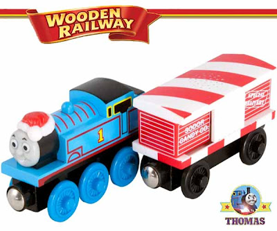 Merry Christmas train Thomas and his friends wooden railway Thomas and the musical candy cane car