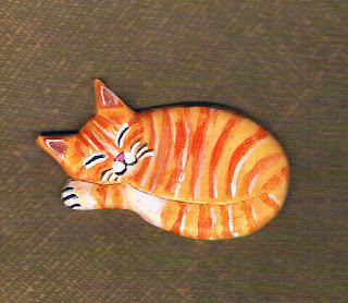 Orange Kitty Cat Brooch