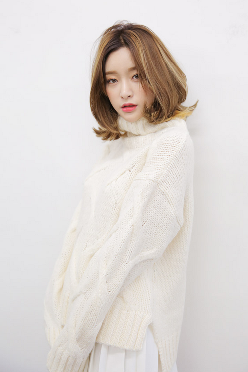 Patterned Turtleneck Knit Sweater