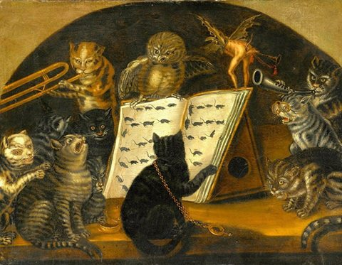 Lombard School. Cats Instructed in the Art of Mouse-Catching by an Owl, c. 1700 Lombard School