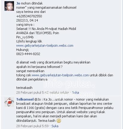 Pengguna berinisiatif melapor ke FB Telkomsel