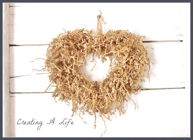 Shredded paper heart wreath - Creating A Life
