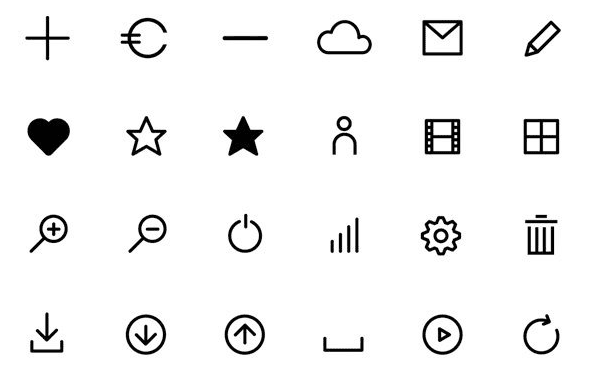 Flat Line Icons (AI, EPS, And Web Fonts)
