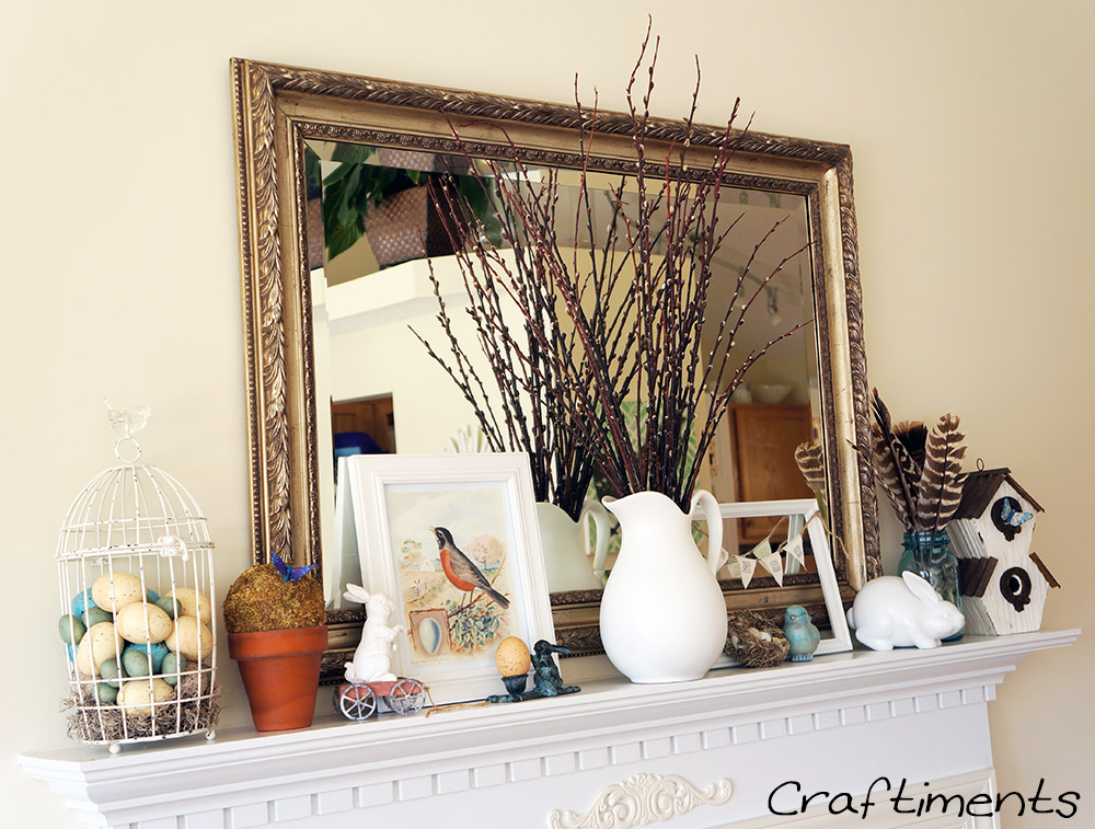 Craftiments:  Birds and Bunnies Spring Mantel