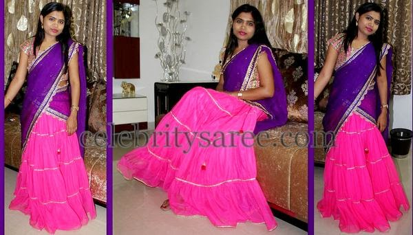 Fuchsia Pink and Purple Half Saree