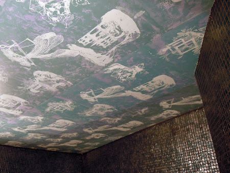 Ceiling has been made with 2 layers of screenprinting plus painted background