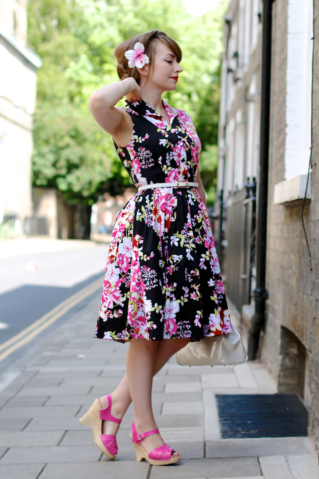 Floral 50s style shirt dress and pink clogs