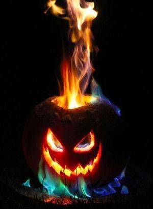 Flaming Pumpkin Jack O Lantern