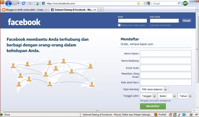 Facebook Reguler dengan security (https) URL : https://www.facebook