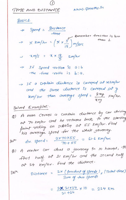 Time and Speed basics for ssc cgl