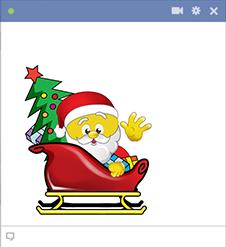 Santa smiley in a sled