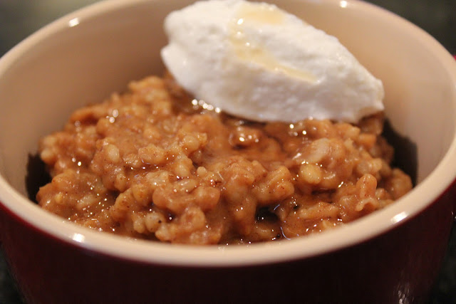 Baked pumpkin oatmeal with Greek yogurt