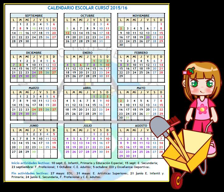 Calendario escolar 2015- 2016
