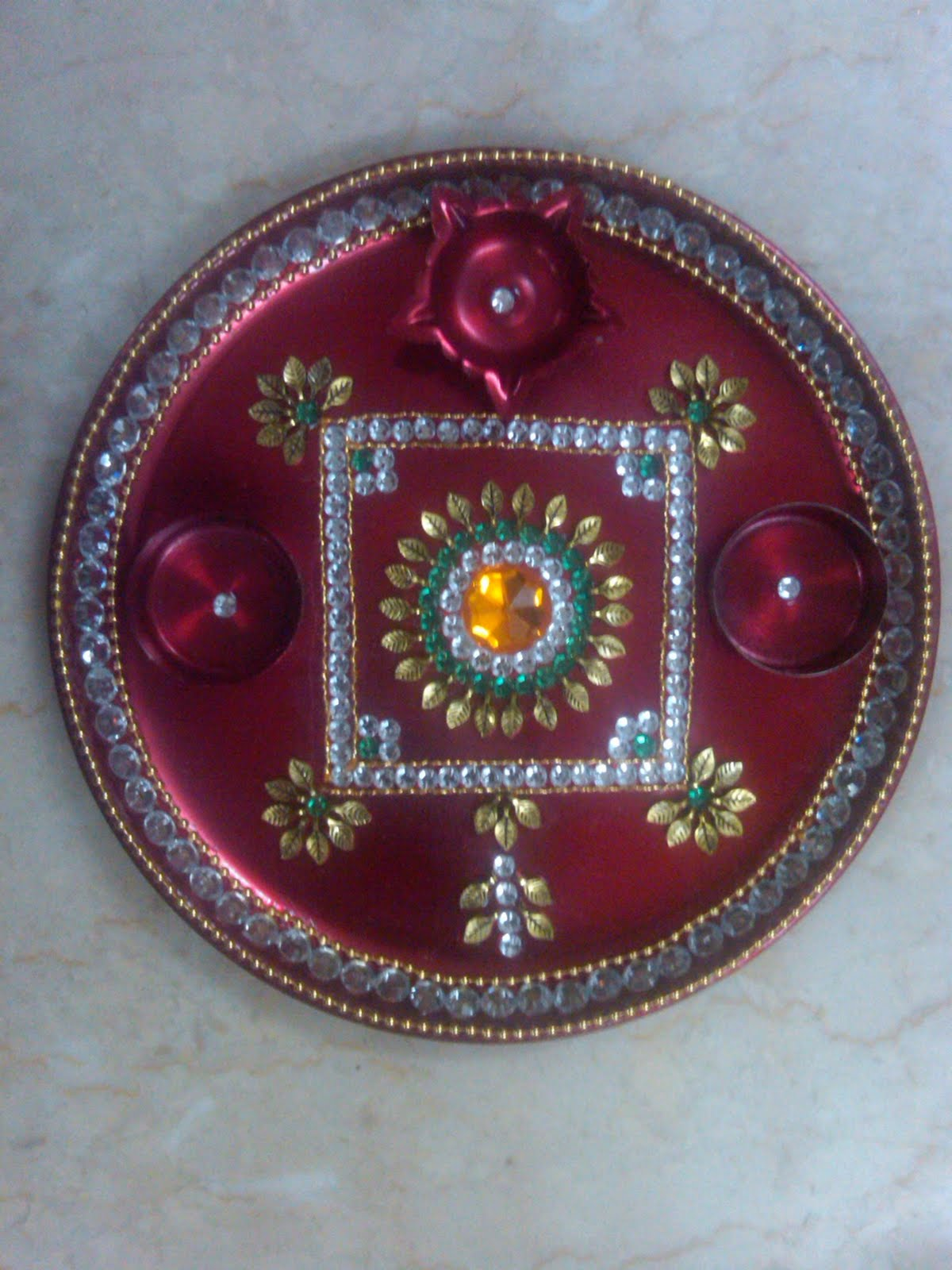 Pooja thali designs pictures joy studio design gallery for Aarti thali decoration designs