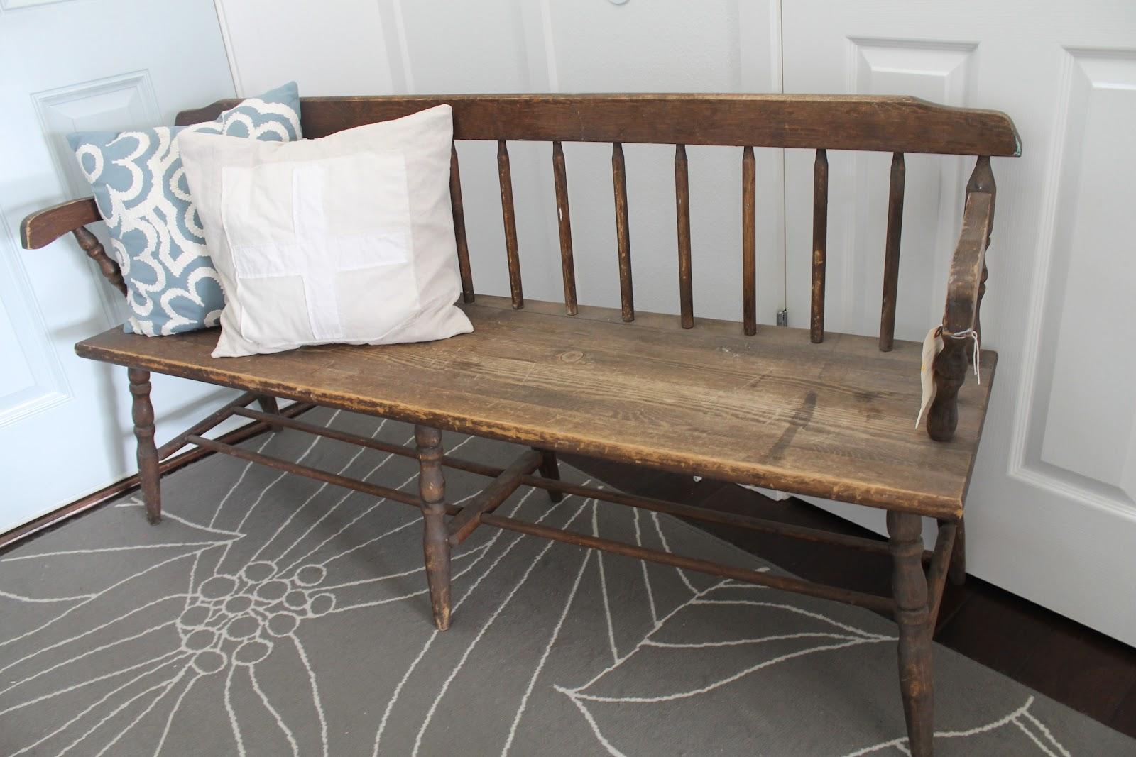 Whimsical Treasures Vintage Windsor Wood Bench