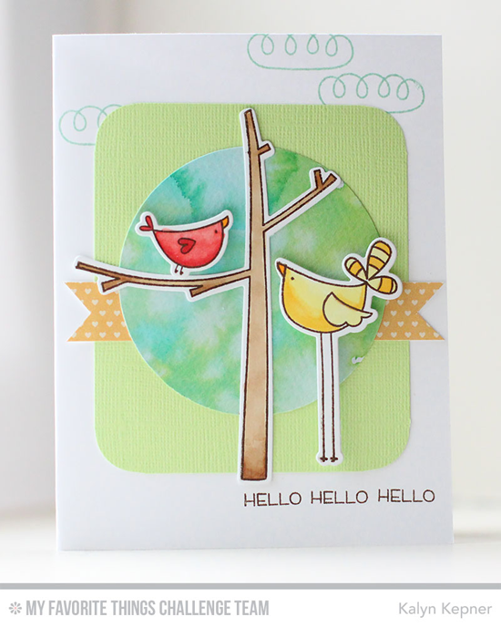 Hello Birdies Card by Kalyn Kepner featuring the Things With WIngs stamp set and Die-namics #mftstamps