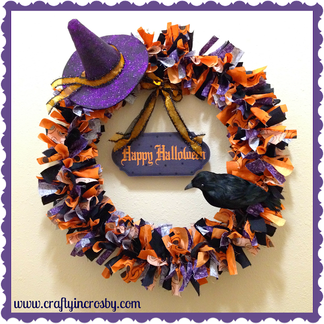 fabric strip wreath, Halloween, Witch Hat, Crow