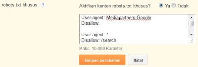 pasang robots.txt