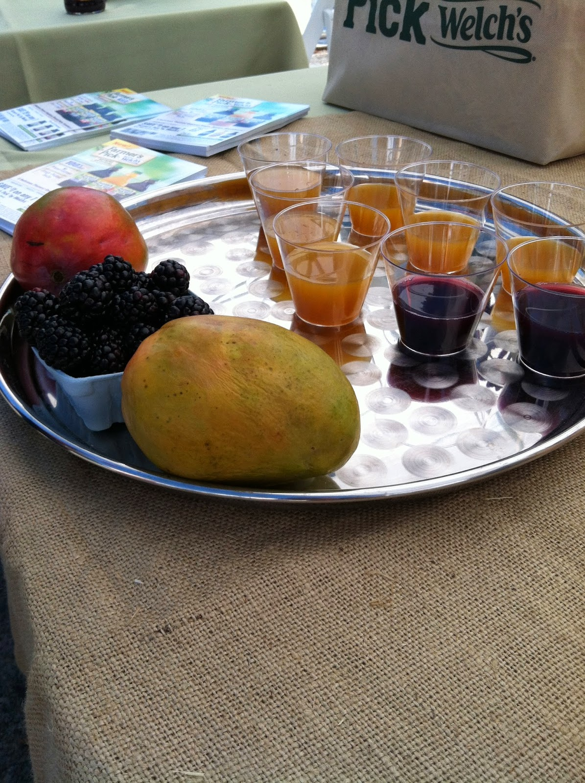 Samples of Farmer's Pick by Welch's Blackberry and Mango juices