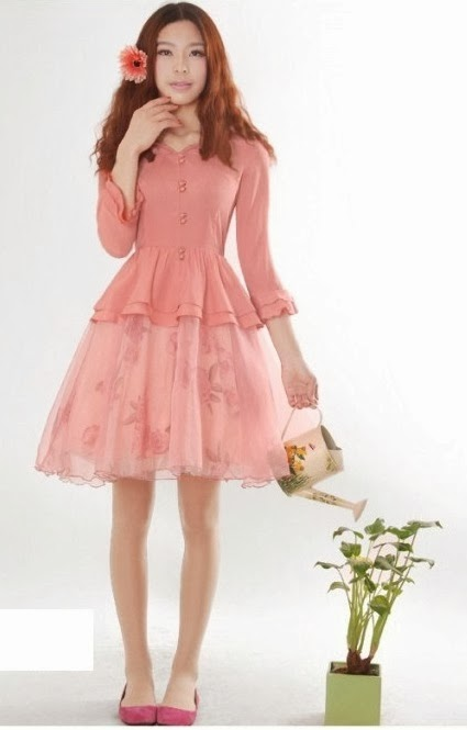 Three Quarter Sleeve Coral Vintage Rose Chiffon Lace Midi Dress