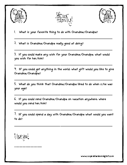 Grandparent's Day Printable - Teaching With Simplicity