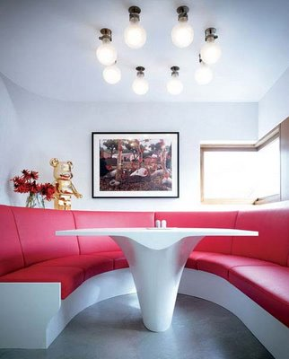 red breakfast nook