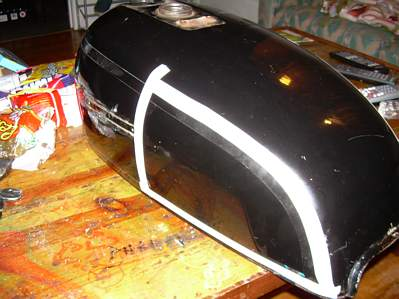 build shit dude suzuki gs cafe it took some nerve to take that first swing of the hammer after that there was no turning back here is the tank after the initial pounding and body