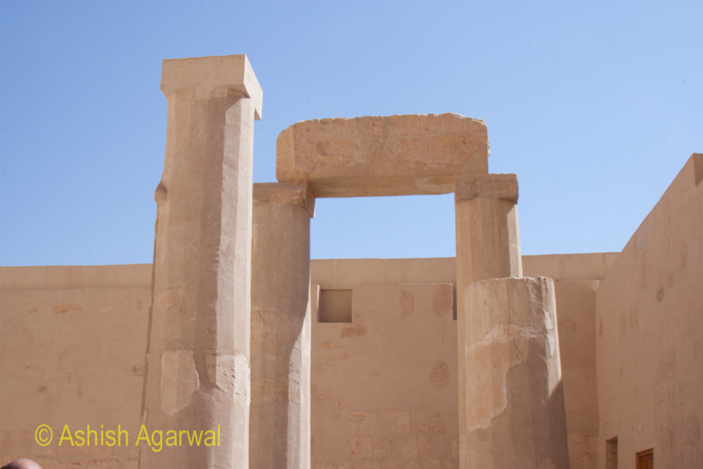 Showing some of the collapse of the structure of Queen Hatshepsut temple over the centuries due to regular wear and tear