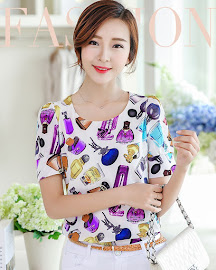 Round Neck Short Sleeve Printed Blouses