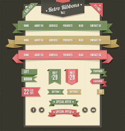30 High-Quality Vector & PSD Ribbons