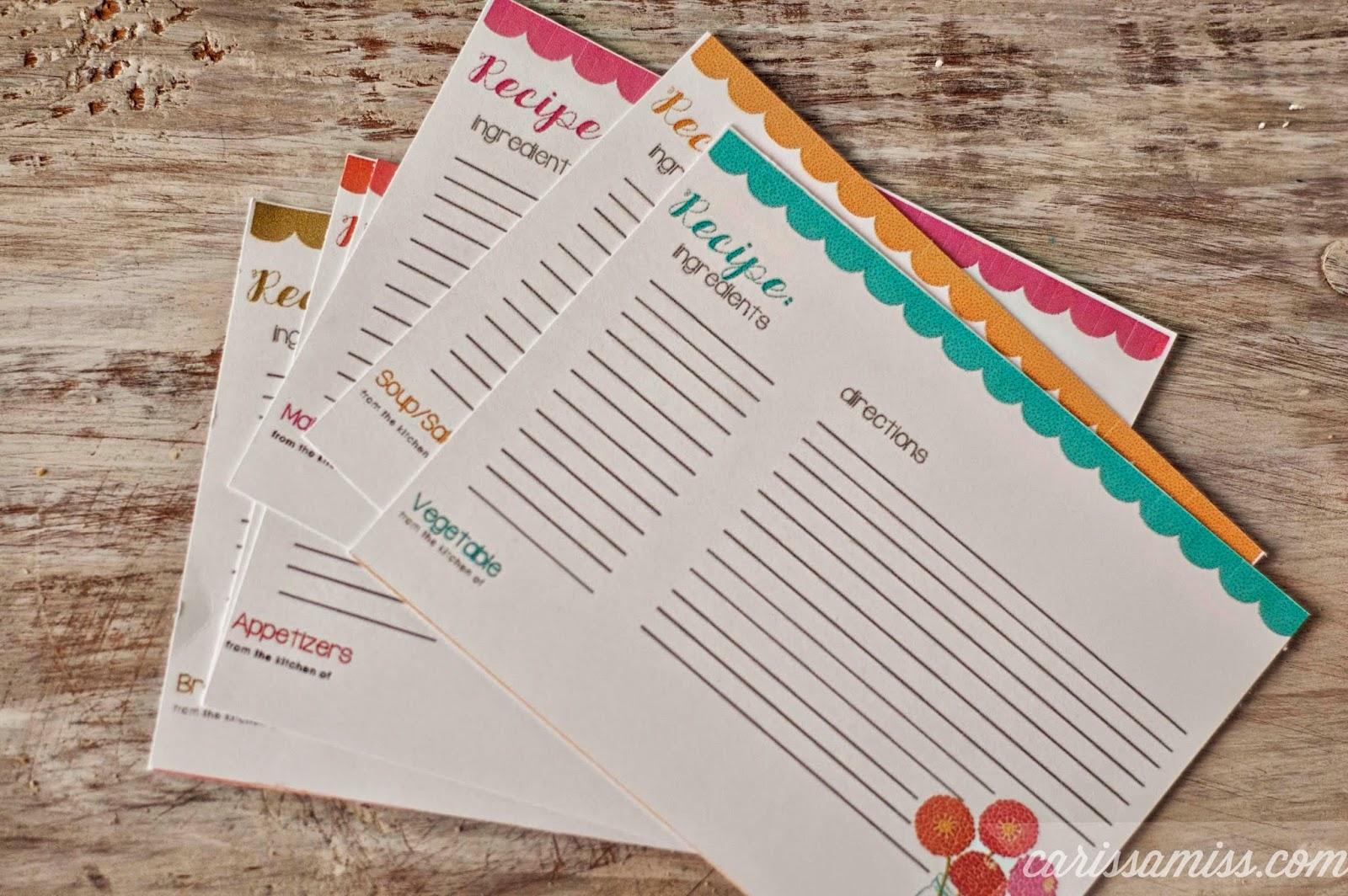 Carissa Miss: Printable Recipe Cards