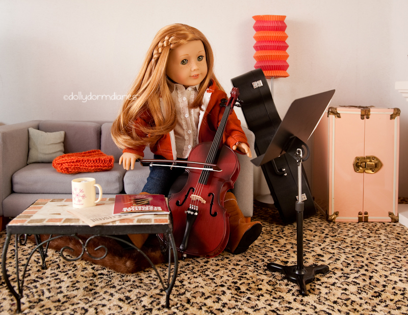 GOTY American Girl Doll Mia plays her cello, 18 inch doll diaries at our American Girl Doll House. Visit our 18 inch dolls dollhouse!